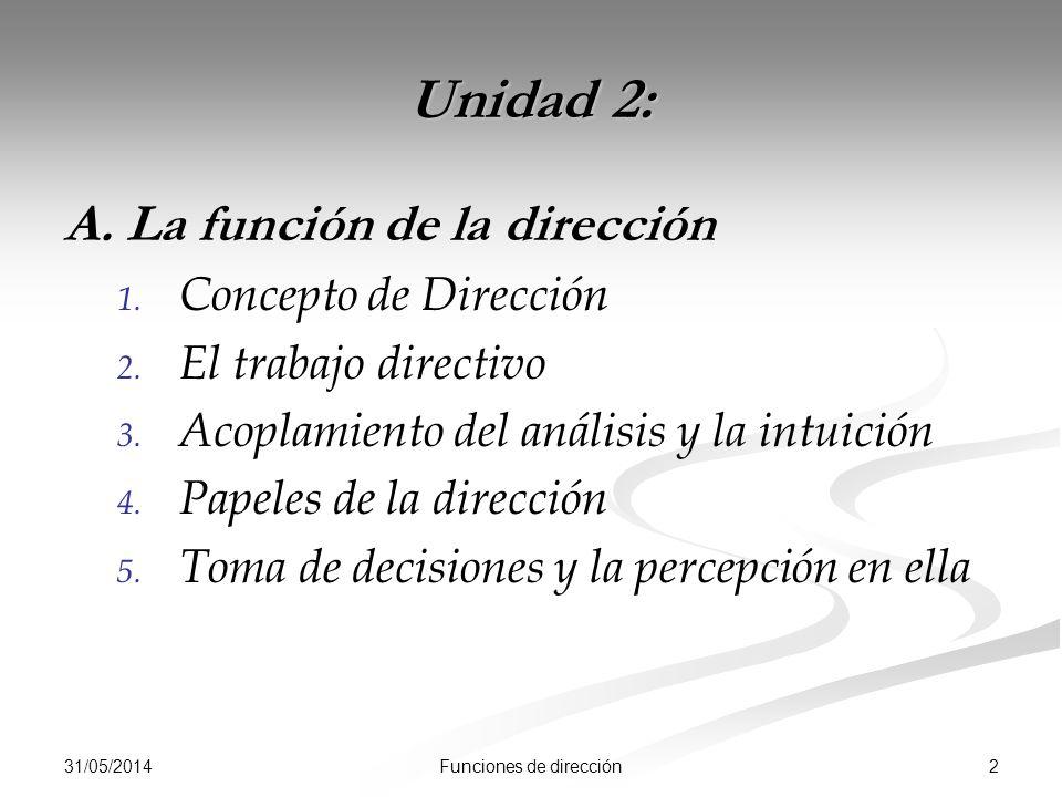 31/05/2014 2Funciones de dirección Unidad 2: A. La función de la dirección 1.