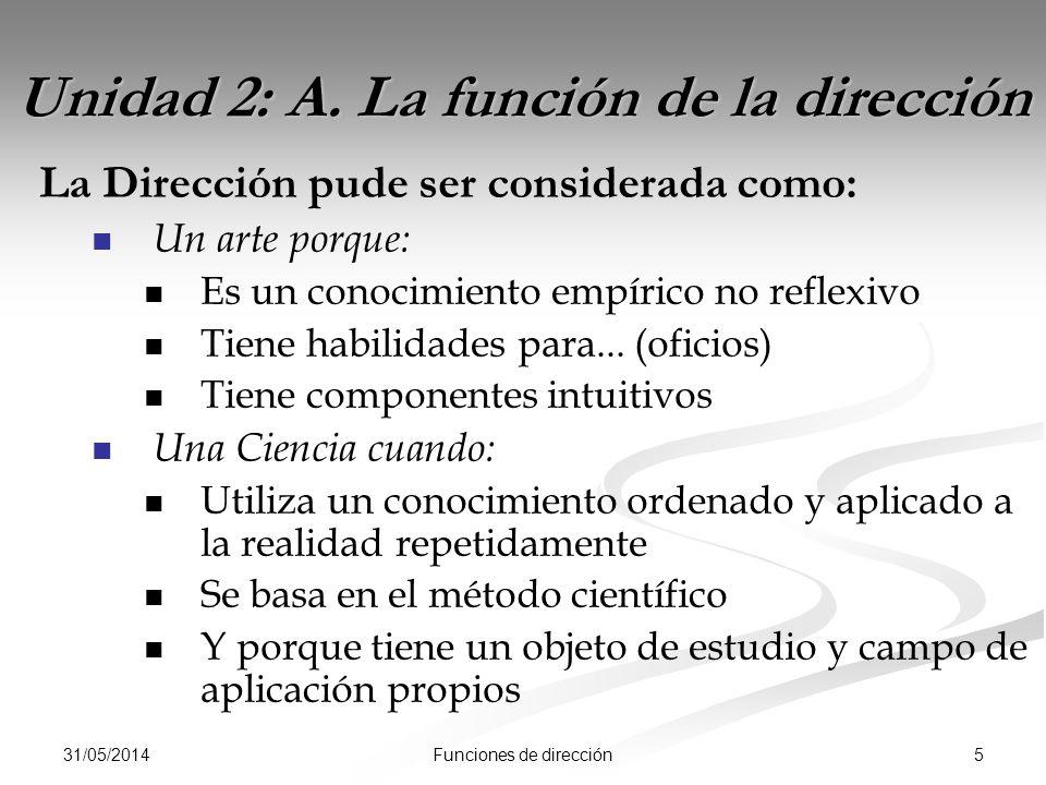 31/05/2014 5Funciones de dirección Unidad 2: A.