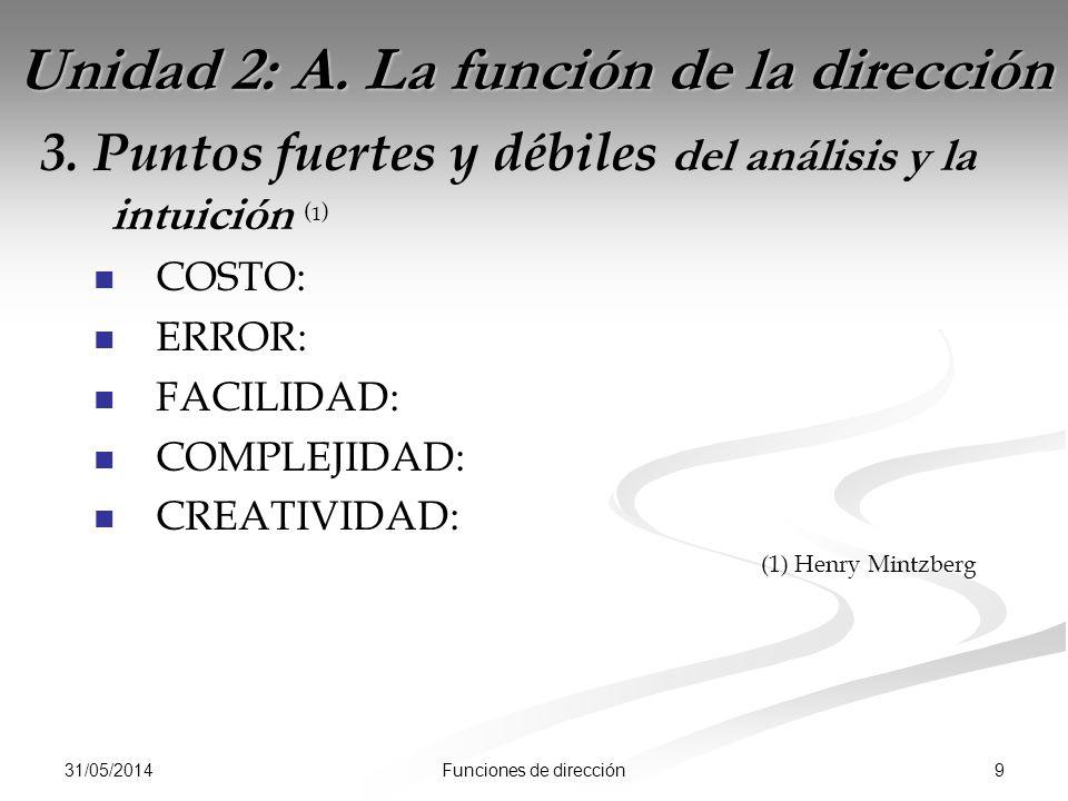 31/05/2014 9Funciones de dirección Unidad 2: A. La función de la dirección 3.