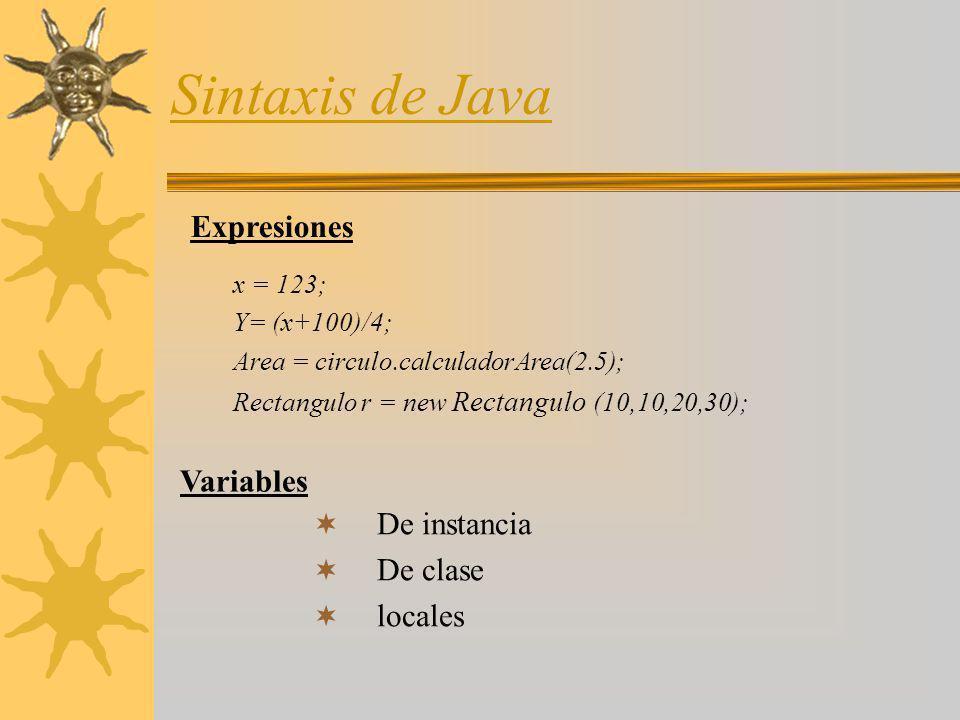 Sintaxis de Java Expresiones x = 123; Y= (x+100)/4; Area = circulo.calculadorArea(2.5); Rectangulo r = new Rectangulo (10,10,20,30); De instancia De c