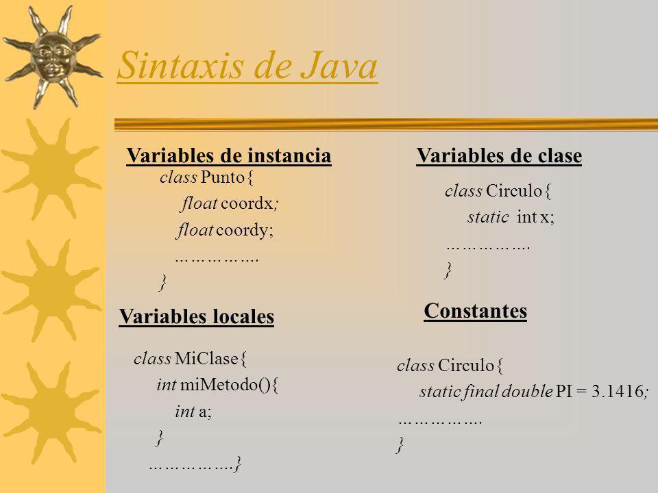 Sintaxis de Java Variables de instancia class Punto{ float coordx; float coordy; ……………. } Variables locales Variables de clase class MiClase{ int miMe