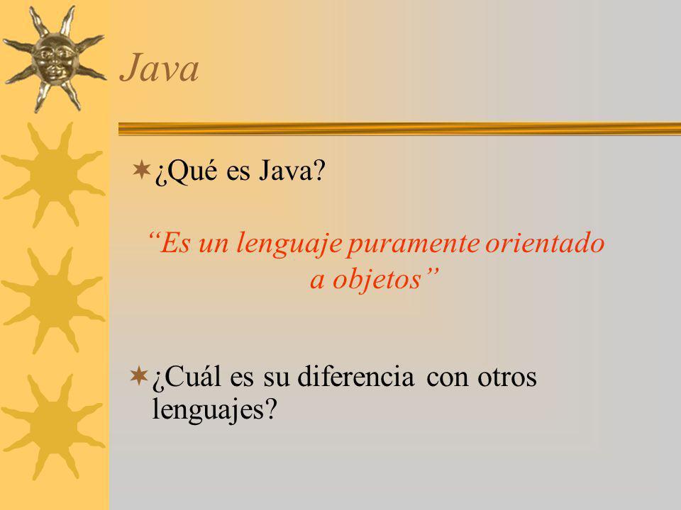 Java ¿Cuál es su diferencia con otros lenguajes? ¿Qué es Java? Es un lenguaje puramente orientado a objetos