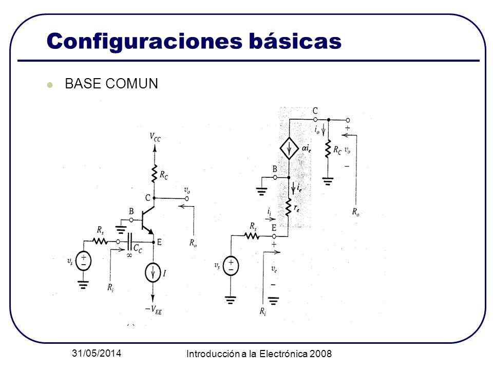 31/05/2014 Introducción a la Electrónica 2008 Configuraciones básicas BASE COMUN
