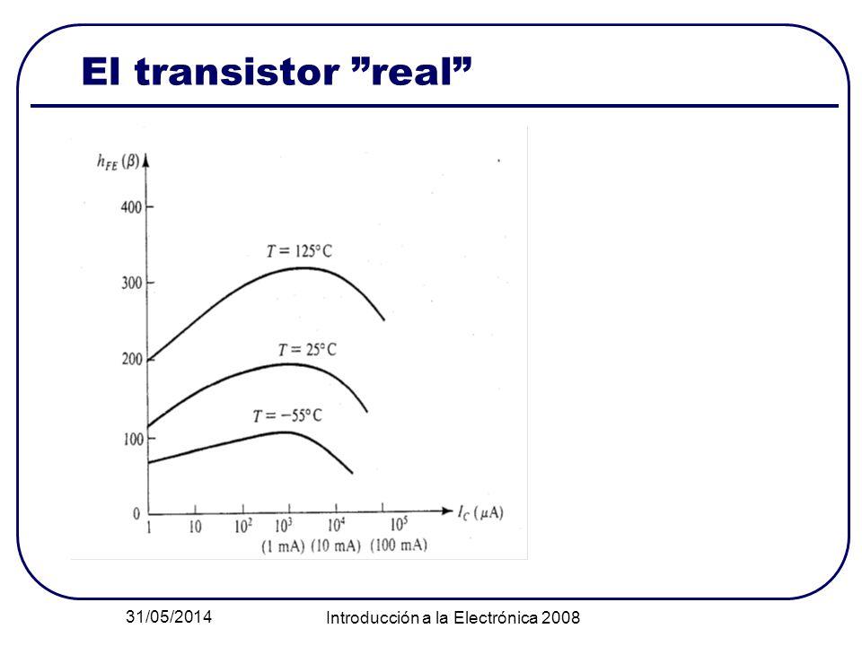 31/05/2014 Introducción a la Electrónica 2008 El transistor real