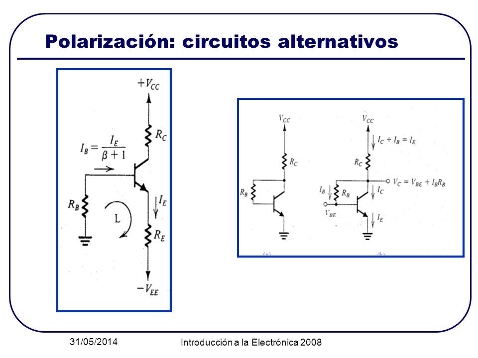 31/05/2014 Introducción a la Electrónica 2008 Polarización: circuitos alternativos