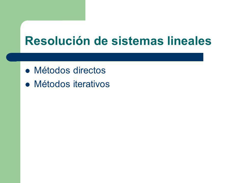 Resolución de sistemas lineales Métodos directos Métodos iterativos