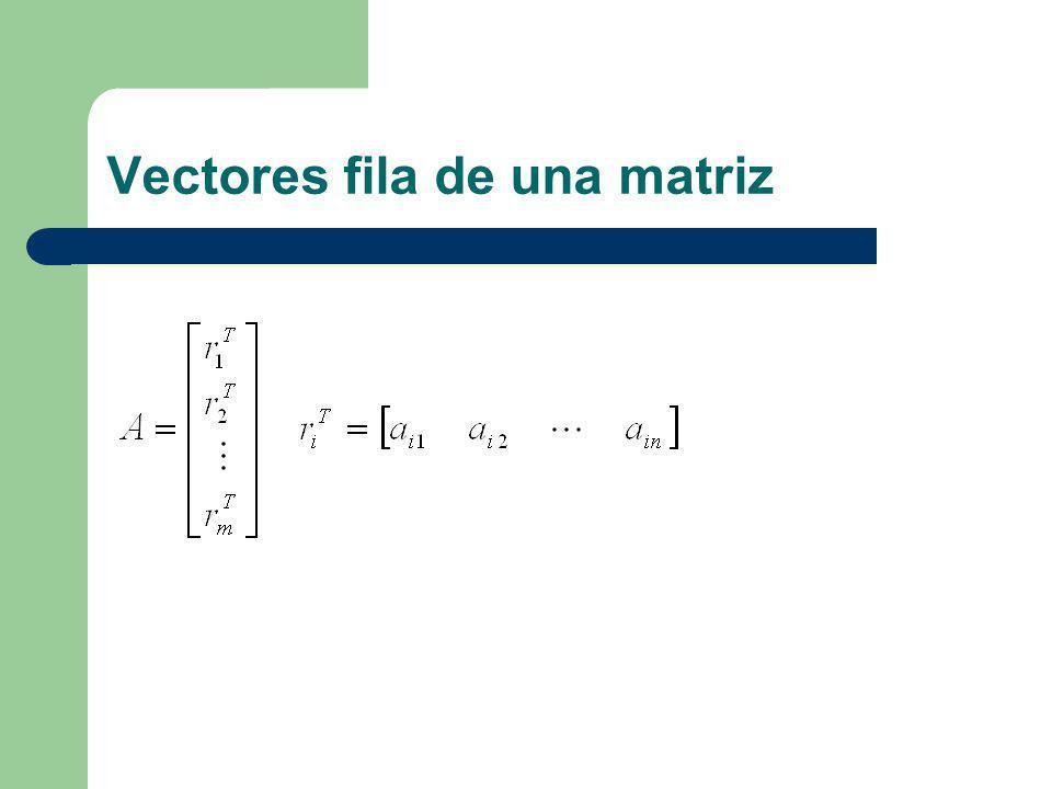 Vectores fila de una matriz