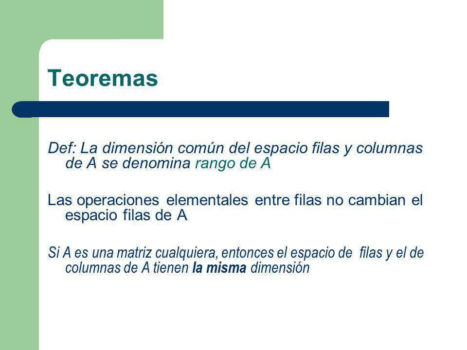Teoremas Def: La dimensión común del espacio filas y columnas de A se denomina rango de A Las operaciones elementales entre filas no cambian el espaci