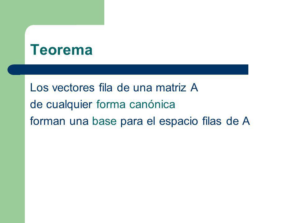Teorema Los vectores fila de una matriz A de cualquier forma canónica forman una base para el espacio filas de A