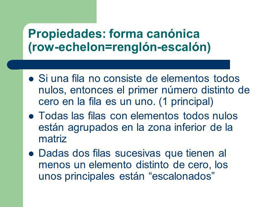 Propiedades: forma canónica (row-echelon=renglón-escalón) Si una fila no consiste de elementos todos nulos, entonces el primer número distinto de cero