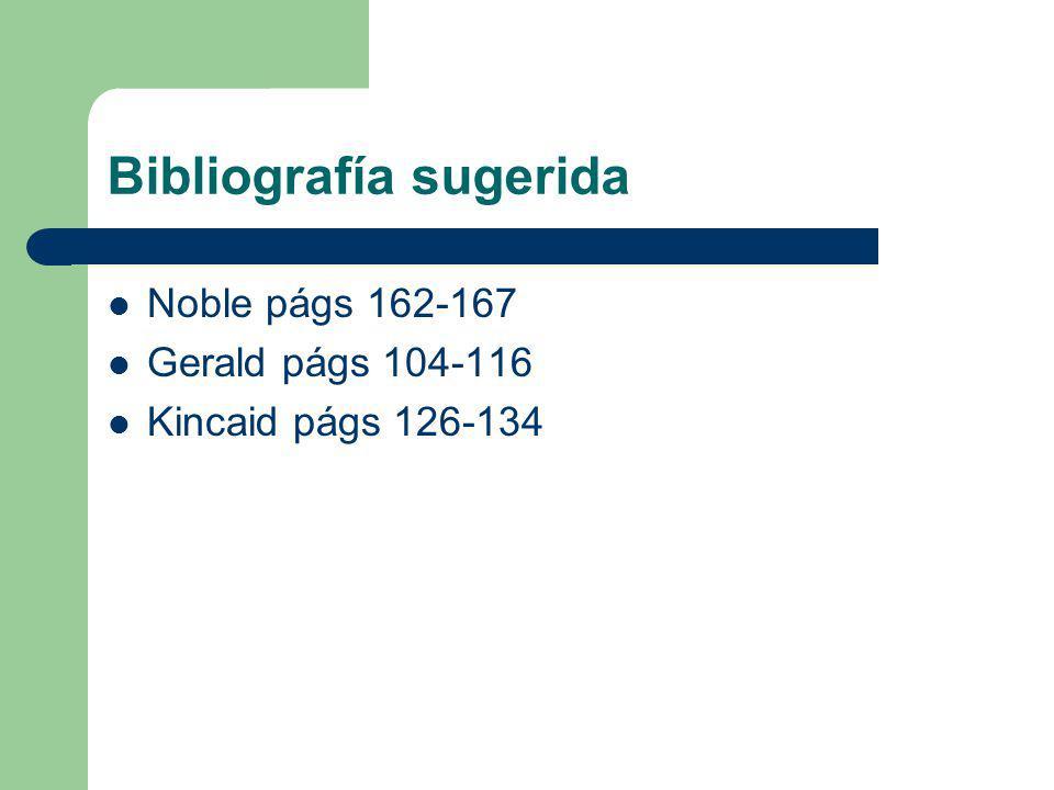 Bibliografía sugerida Noble págs 162-167 Gerald págs 104-116 Kincaid págs 126-134