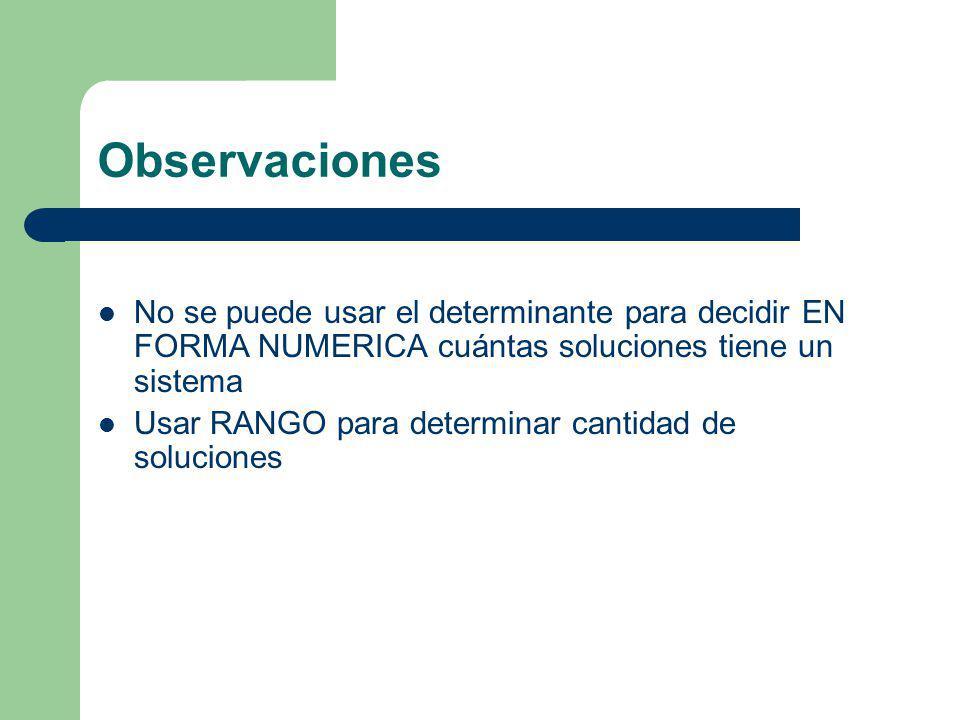 Observaciones No se puede usar el determinante para decidir EN FORMA NUMERICA cuántas soluciones tiene un sistema Usar RANGO para determinar cantidad