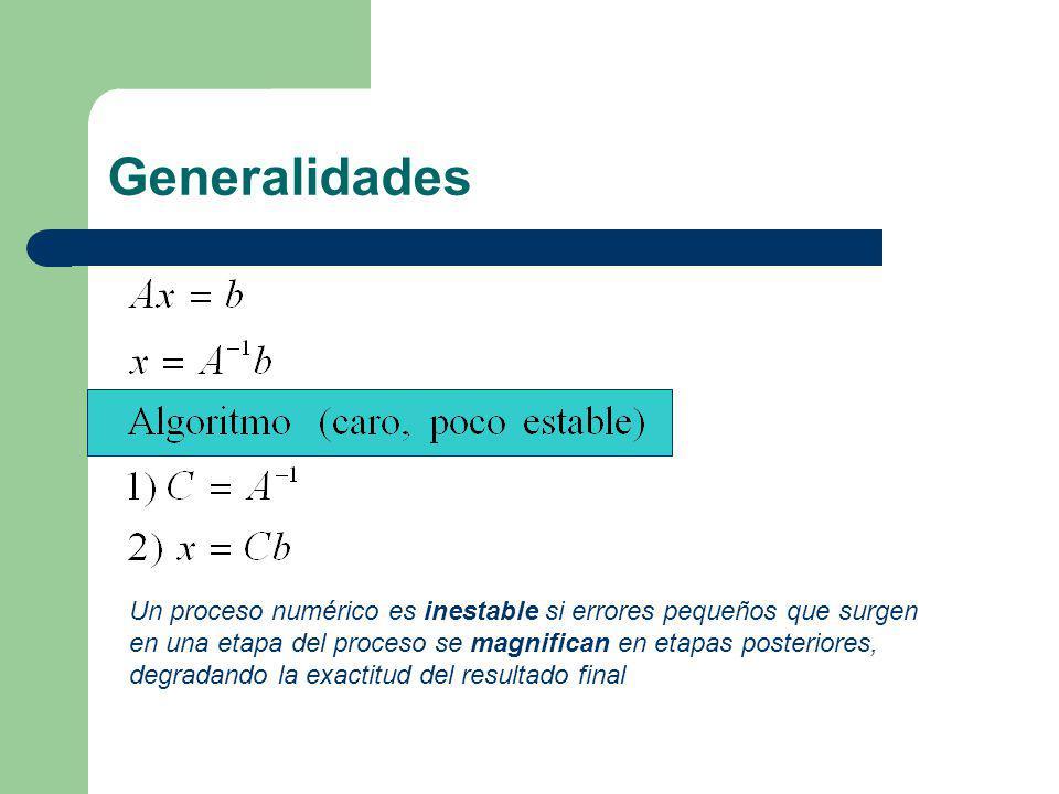 Generalidades Un proceso numérico es inestable si errores pequeños que surgen en una etapa del proceso se magnifican en etapas posteriores, degradando