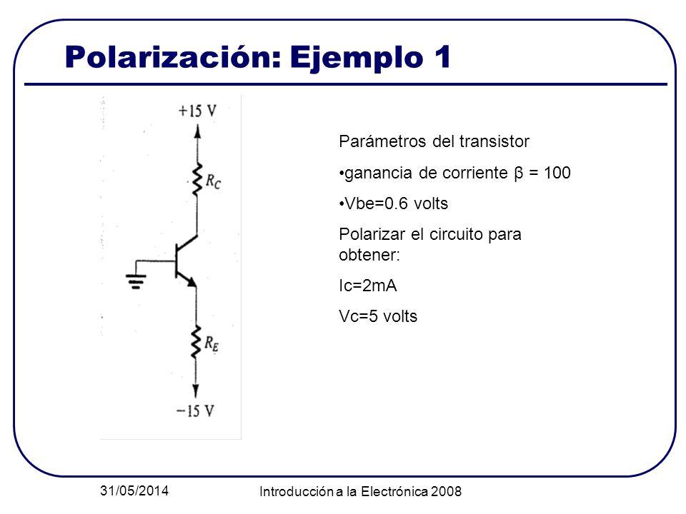 31/05/2014 Introducción a la Electrónica 2008 Polarización: Ejemplo 1 Parámetros del transistor ganancia de corriente β = 100 Vbe=0.6 volts Polarizar