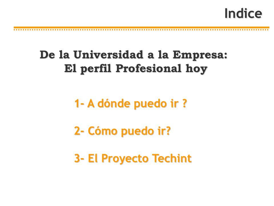 Indice 1- A dónde puedo ir ? 2- Cómo puedo ir? 3- El Proyecto Techint De la Universidad a la Empresa: El perfil Profesional hoy El perfil Profesional