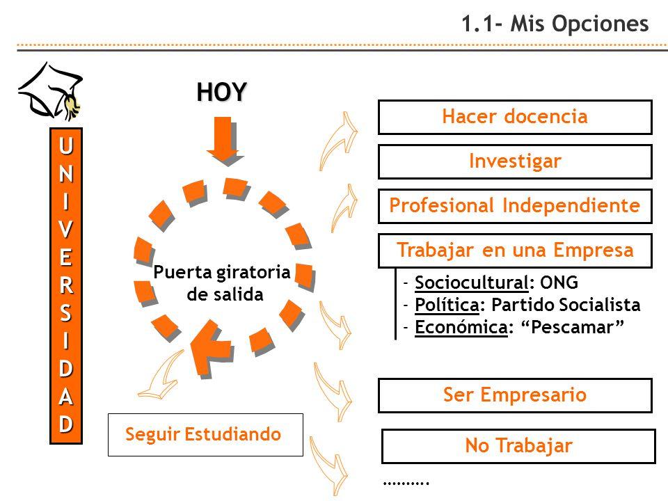 1.1- Mis Opciones UNIVERSIDAD Puerta giratoria de salida Hacer docencia Profesional Independiente Investigar Ser Empresario No Trabajar Seguir Estudia