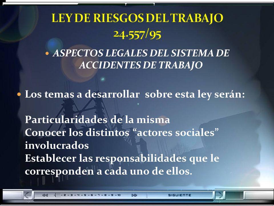 ASPECTOS LEGALES DEL SISTEMA DE ACCIDENTES DE TRABAJO Los temas a desarrollar sobre esta ley serán: Particularidades de la misma Conocer los distintos