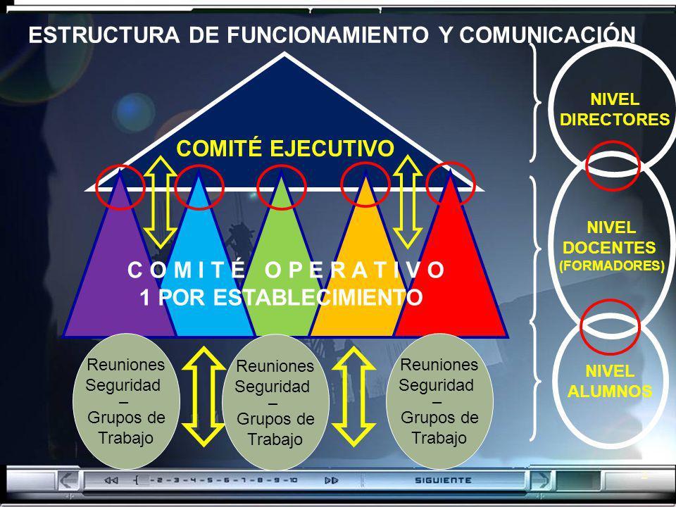 2 ESTRUCTURA DE FUNCIONAMIENTO Y COMUNICACIÓN NIVEL DIRECTORES NIVEL DOCENTES (FORMADORES) NIVEL ALUMNOS Reuniones Seguridad – Grupos de Trabajo Reuni