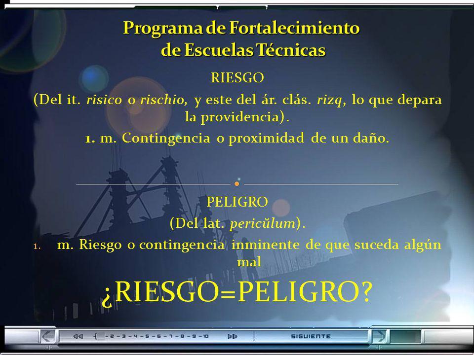 RIESGO (Del it. risico o rischio, y este del ár. clás. rizq, lo que depara la providencia). 1. m. Contingencia o proximidad de un daño. PELIGRO (Del l