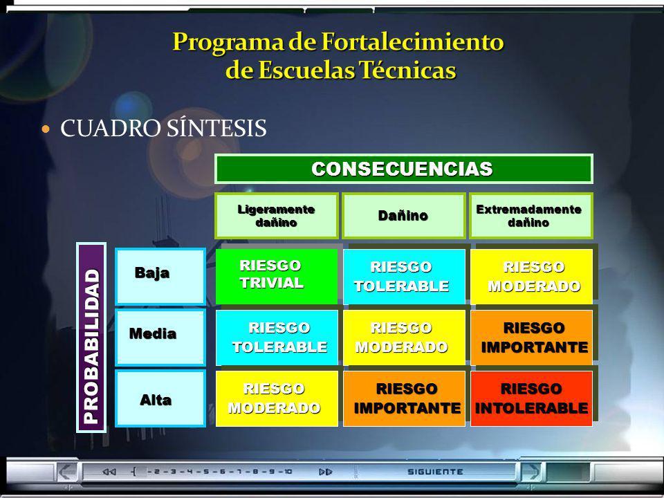CUADRO SÍNTESISCONSECUENCIAS PROBABILIDAD Baja Media Alta LigeramentedañinoDañinoExtremadamentedañino RIESGOTRIVIAL RIESGOTOLERABLE RIESGOTOLERABLE RI
