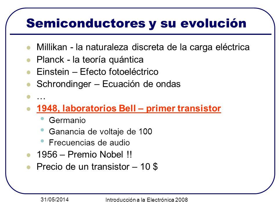 31/05/2014 Introducción a la Electrónica 2008 Semiconductores y su evolución Millikan - la naturaleza discreta de la carga eléctrica Planck - la teorí
