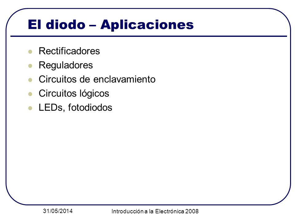 31/05/2014 Introducción a la Electrónica 2008 El diodo – Aplicaciones Rectificadores Reguladores Circuitos de enclavamiento Circuitos lógicos LEDs, fo