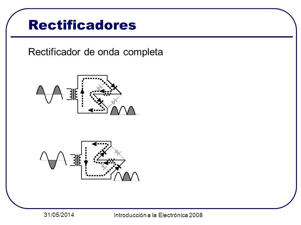 31/05/2014 Introducción a la Electrónica 2008 Rectificadores Rectificador de onda completa