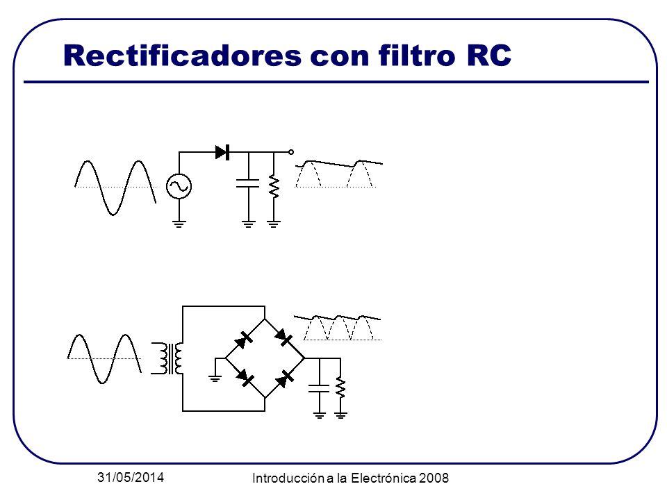 31/05/2014 Introducción a la Electrónica 2008 Rectificadores con filtro RC