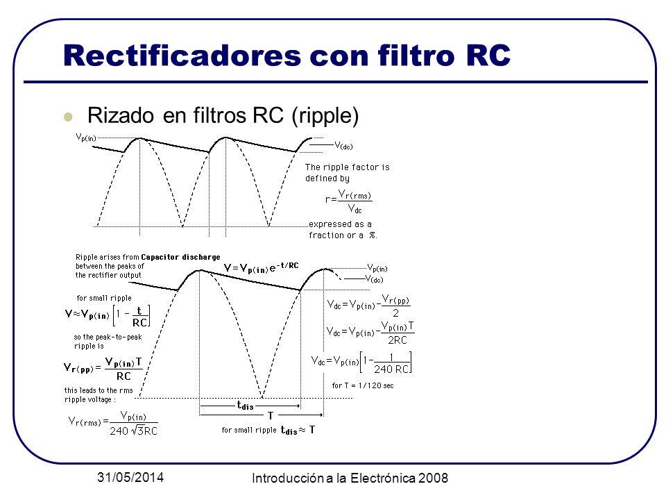 31/05/2014 Introducción a la Electrónica 2008 Rectificadores con filtro RC Rizado en filtros RC (ripple)
