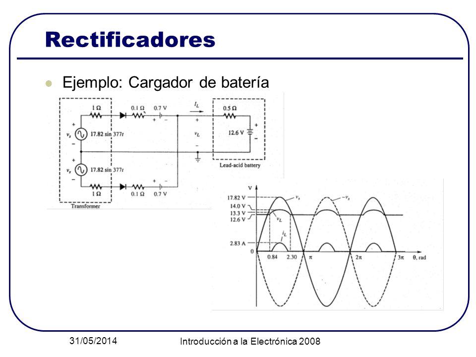 31/05/2014 Introducción a la Electrónica 2008 Rectificadores Ejemplo: Cargador de batería