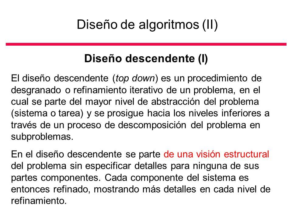 Diseño de algoritmos (II) Diseño descendente (I) El diseño descendente (top down) es un procedimiento de desgranado o refinamiento iterativo de un problema, en el cual se parte del mayor nivel de abstracción del problema (sistema o tarea) y se prosigue hacia los niveles inferiores a través de un proceso de descomposición del problema en subproblemas.