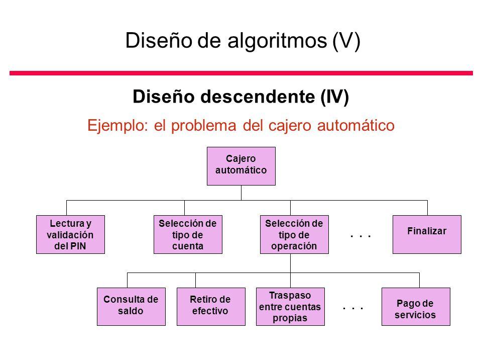 Diseño de algoritmos (V) Diseño descendente (IV) Ejemplo: el problema del cajero automático Cajero automático Lectura y validación del PIN Selección de tipo de cuenta Selección de tipo de operación Finalizar Consulta de saldo Traspaso entre cuentas propias Retiro de efectivo Pago de servicios...