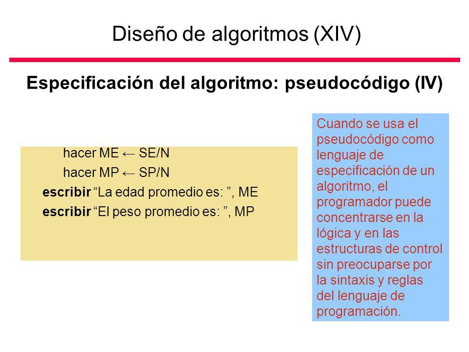 Diseño de algoritmos (XIV) Especificación del algoritmo: pseudocódigo (IV) hacer ME SE/N hacer MP SP/N escribir La edad promedio es:, ME escribir El peso promedio es:, MP Cuando se usa el pseudocódigo como lenguaje de especificación de un algoritmo, el programador puede concentrarse en la lógica y en las estructuras de control sin preocuparse por la sintaxis y reglas del lenguaje de programación.