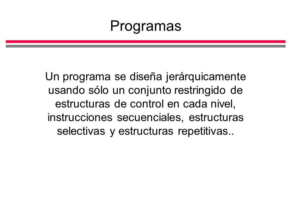 Programas Un programa se diseña jerárquicamente usando sólo un conjunto restringido de estructuras de control en cada nivel, instrucciones secuenciales, estructuras selectivas y estructuras repetitivas..