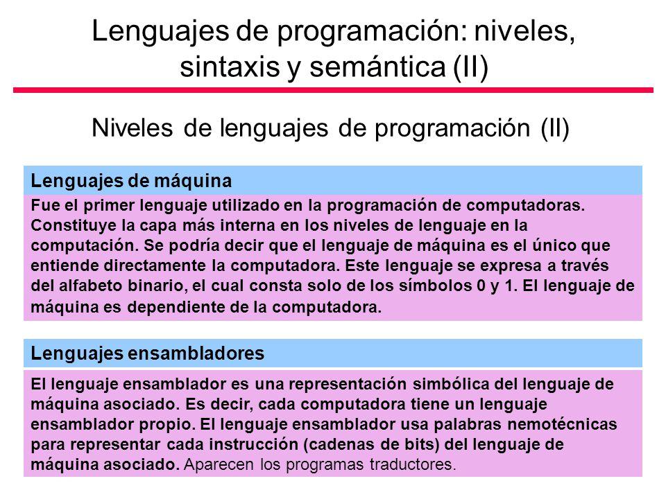 Lenguajes de programación: niveles, sintaxis y semántica (II) Niveles de lenguajes de programación (II) Fue el primer lenguaje utilizado en la programación de computadoras.