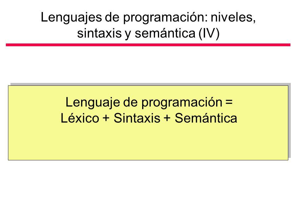 Lenguajes de programación: niveles, sintaxis y semántica (IV) Lenguaje de programación = Léxico + Sintaxis + Semántica