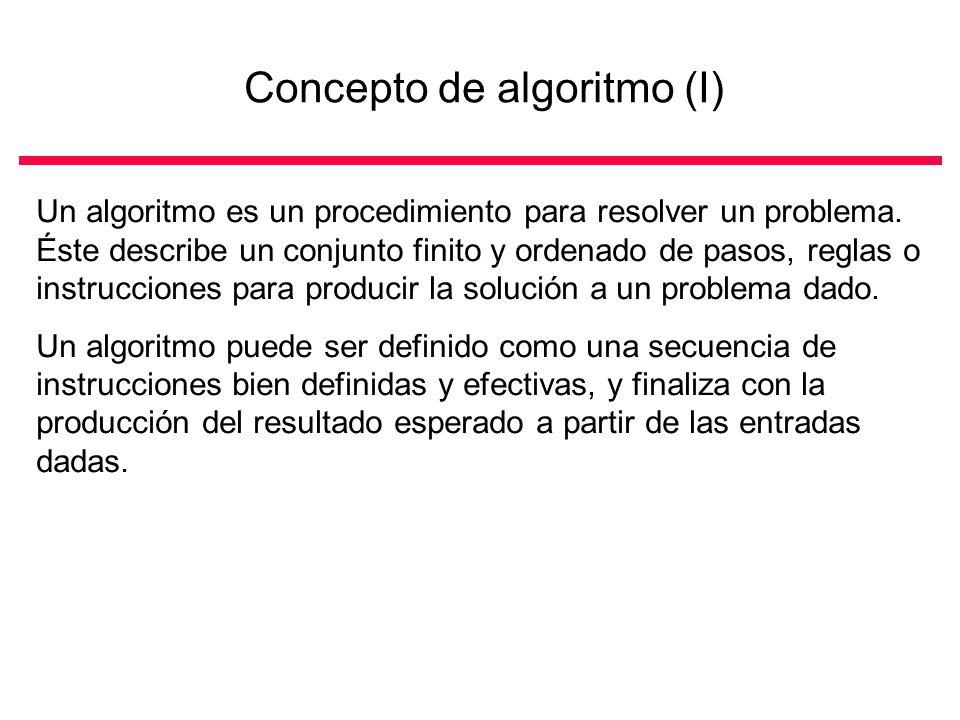 Concepto de algoritmo (I) Problema Análisis Profundo del problema Construcción del algoritmo Verificación del algoritmo Etapas Resultado o efecto...