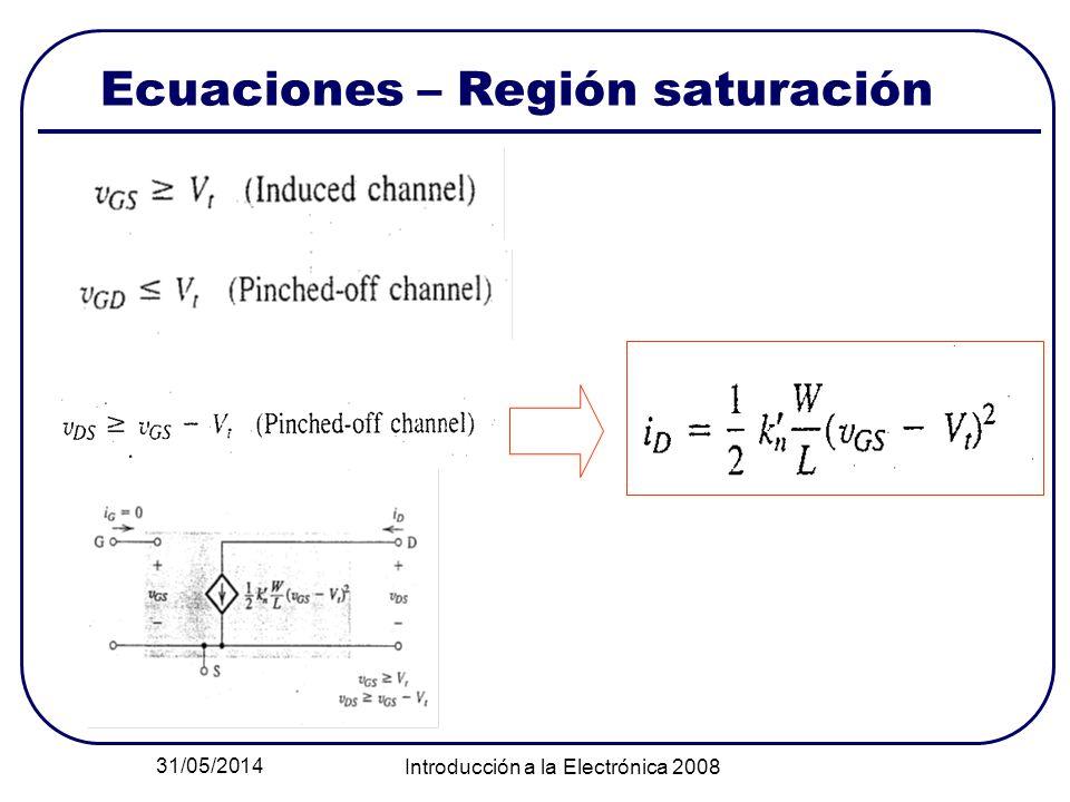31/05/2014 Introducción a la Electrónica 2008 Ecuaciones – Región saturación