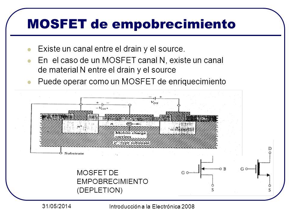 31/05/2014 Introducción a la Electrónica 2008 MOSFET de empobrecimiento Existe un canal entre el drain y el source. En el caso de un MOSFET canal N, e