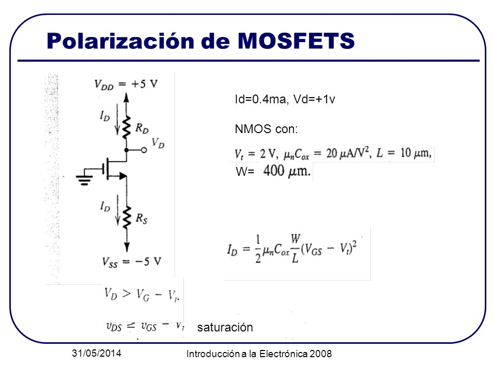 31/05/2014 Introducción a la Electrónica 2008 Polarización de MOSFETS Id=0.4ma, Vd=+1v NMOS con: W= saturación