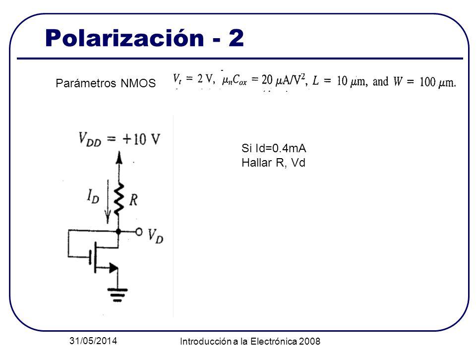 31/05/2014 Introducción a la Electrónica 2008 Polarización - 2 Parámetros NMOS Si Id=0.4mA Hallar R, Vd