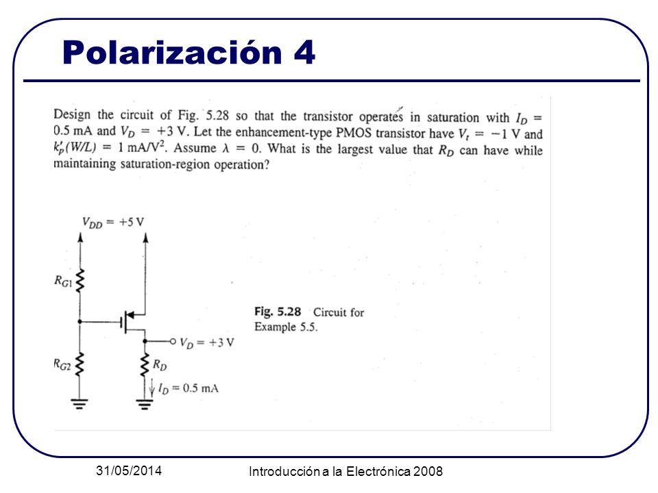 31/05/2014 Introducción a la Electrónica 2008 Polarización 4