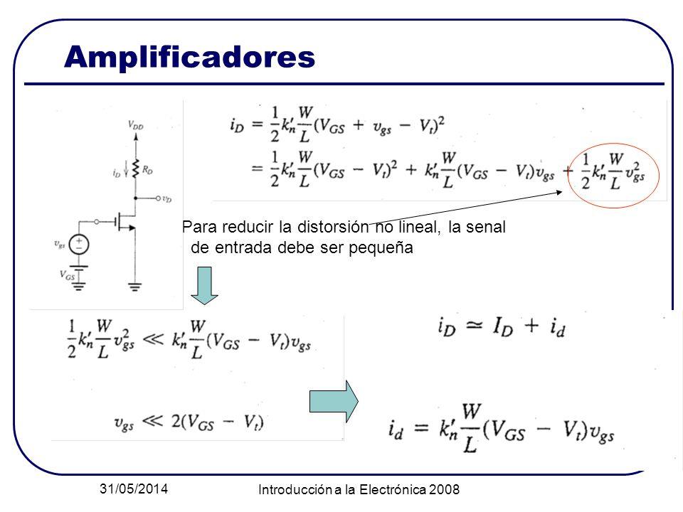 31/05/2014 Introducción a la Electrónica 2008 Amplificadores Para reducir la distorsión no lineal, la senal de entrada debe ser pequeña