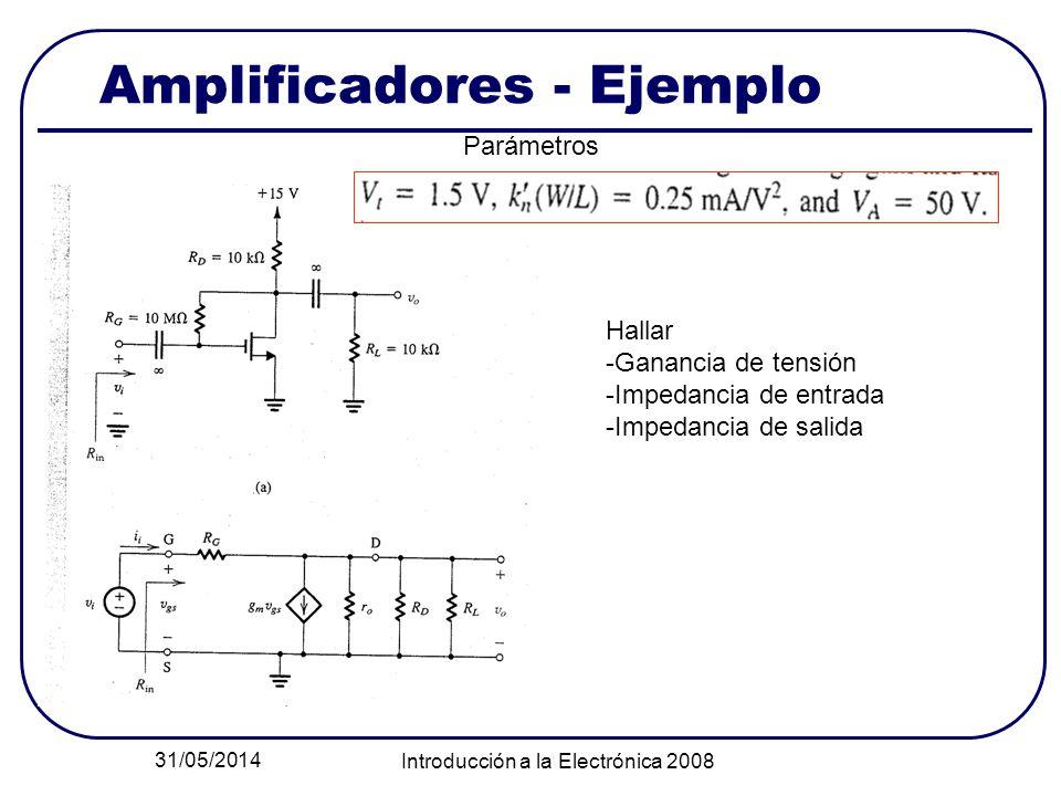 31/05/2014 Introducción a la Electrónica 2008 Amplificadores - Ejemplo Parámetros Hallar -Ganancia de tensión -Impedancia de entrada -Impedancia de sa