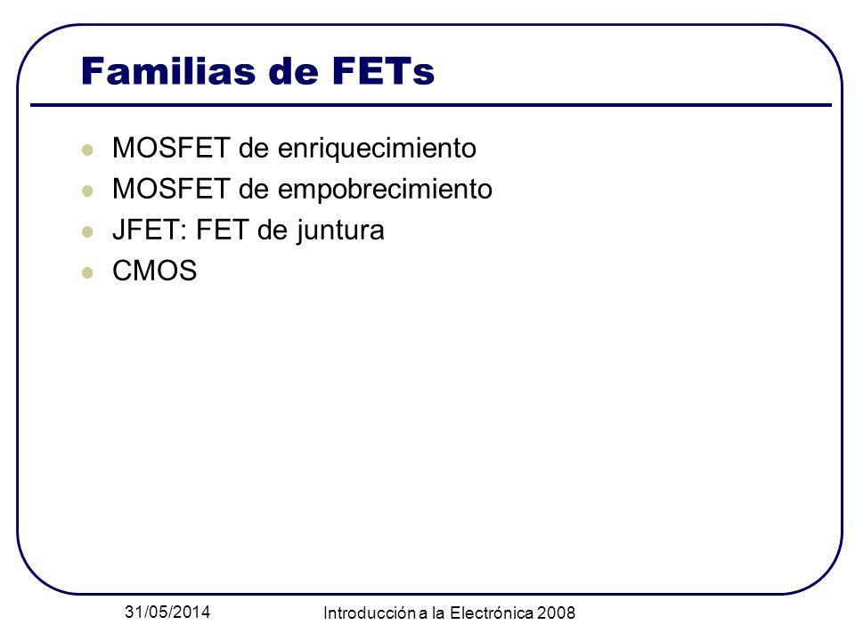 31/05/2014 Introducción a la Electrónica 2008 Familias de FETs MOSFET de enriquecimiento MOSFET de empobrecimiento JFET: FET de juntura CMOS