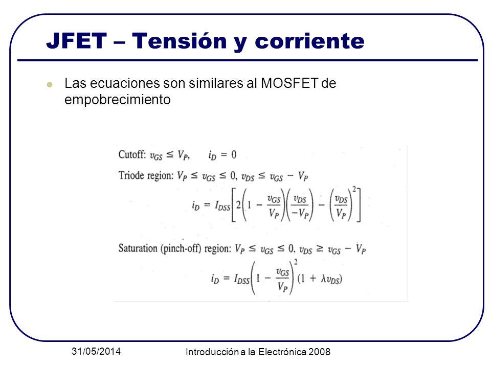 31/05/2014 Introducción a la Electrónica 2008 JFET – Tensión y corriente Las ecuaciones son similares al MOSFET de empobrecimiento