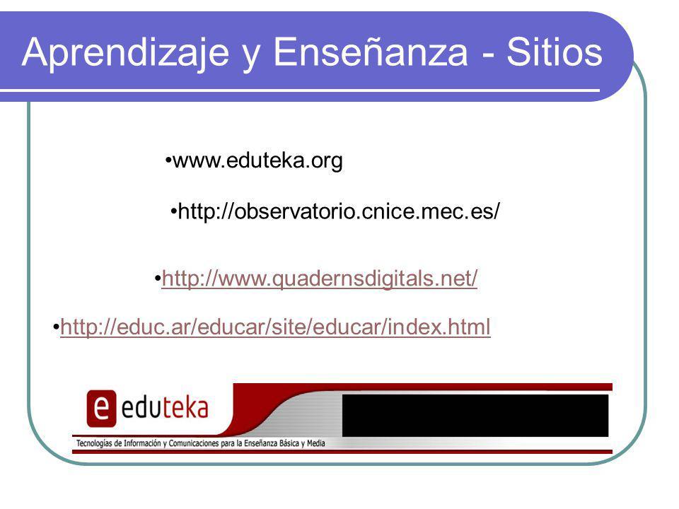 Aprendizaje y Enseñanza - Sitios www.eduteka.org http://observatorio.cnice.mec.es/ http://www.quadernsdigitals.net/ http://educ.ar/educar/site/educar/index.html