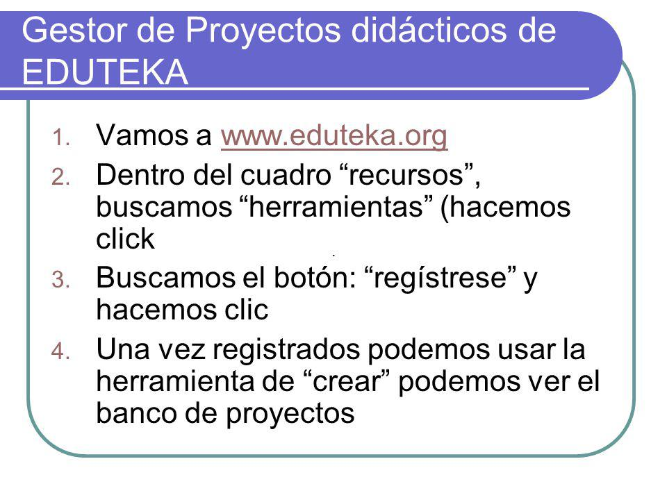 Gestor de Proyectos didácticos de EDUTEKA 1.Vamos a www.eduteka.orgwww.eduteka.org 2.