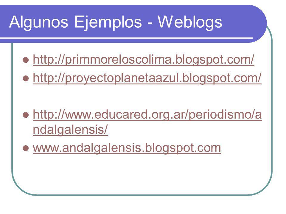 Algunos Ejemplos - Weblogs http://primmoreloscolima.blogspot.com/ http://proyectoplanetaazul.blogspot.com/ http://www.educared.org.ar/periodismo/a ndalgalensis/ http://www.educared.org.ar/periodismo/a ndalgalensis/ www.andalgalensis.blogspot.com