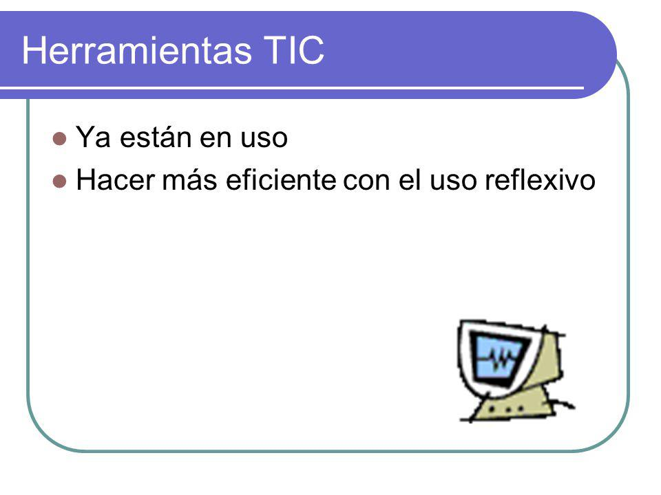 Herramientas TIC Ya están en uso Hacer más eficiente con el uso reflexivo